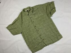 TOMMY BAHAMA 100% Silk Relax Its Only Money Embroidered Camp Shirt Mens L D19