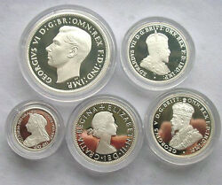 Australia 2000 History Of Monarchs Proof Set Of 5 Silver Coinswith Box And Coa