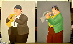 2 Original Oil Paintings 2 Horn Players On Canvas 24 X 20 Art/picasso/music