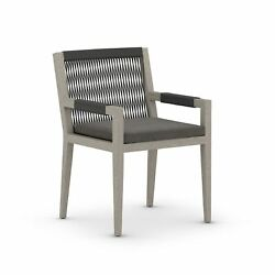 23 W Set Of 2 Outdoor Dining Chair Modern Charcoal 100 Olefin Rope Teak Frame