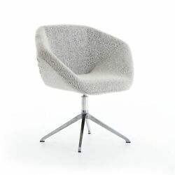 31 W Set Of 2 Modern Desk Chair Stainless Steel Star Base Grey Textural Fabric