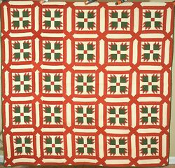 Vibrant Vintage 1870's Red And Green Bear Paw Antique Quilt Garden Maze Framing