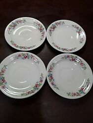 4 Crown Ivory Salad Plates Floral 5.75 China Dinnerware Collectible Vintage