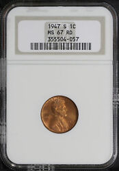 1947-s Lincoln Wheat Cent Ngc Ms-67 Rd