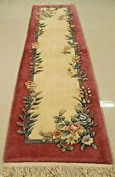 Super Fine Vintage Chinese Aubusson Rug 2.6 X 10and039 100 Wool 75 Off Great Price
