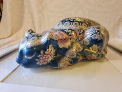 Vintage Chinese Ceramic/porcelain Hand Painted Lucky/sleeping Cat Figurine