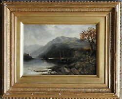 Alfred Bell 1832-1895 Antique Original Oil Painting Boat Loch Maree Scotland 2