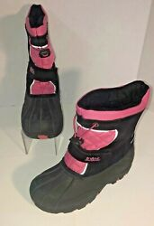 TOTES Pink And Black quot;Jillianquot; Lined Winter Boots Reflective Youth Girls Size: 2 $10.99
