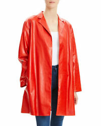 Theory Women's Red Leather Jacket Size Uk 8 100 Real Lamb Leather