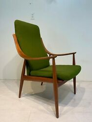 Mid Century Modern High Back Lounge Chair By Peter Hvidt And Orla Mølgaard-nielsen