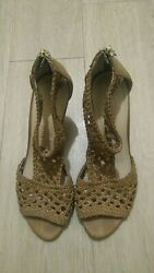 Franco Sarto Womenand039s L-gabar Wedge Sandals Size 8.5m Brown