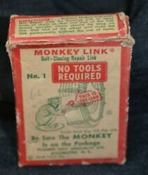 Monkey Link Tire Chain Repair Kit Vintage Automobile Advertising 1940s Red Green