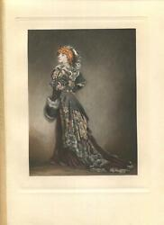 ANTIQUE VICTORIAN ART NOUVEAU WOMAN REDHEAD BLACK DRESS MUFF HAT COSTUME PRINT