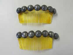 VINTAGE HAIR COMB SET WITH STERLING SILVER ACCENTS MADE IN MEXICO