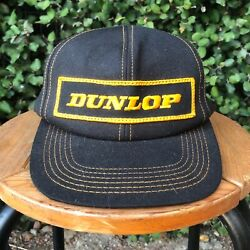VTG DUNLOP Tires Power Patch Snapback Black Trucker Hat Cap K products made USA