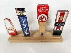 Handcrafted Solid Maple Wood Four Beer Tap Handle Display Stand Base Holder
