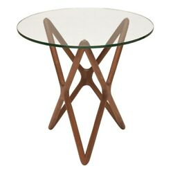 22 W Set Of 2 Side Table Round Tempered Glass Top Walnut Modern X Base