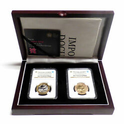 2012 Silver Piefort And Gold 2 Pounds Set Olympics Handover To Rio Ngc Pf-70 Uc