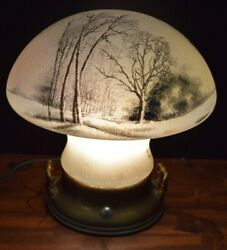 Fine Handel/pairpoint Painted Glass Mushroom Shaped Lamp With Trees