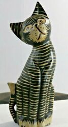 Vintage Hand Carved And Painted Wood Wooden Cat Kitty Figurine Statue