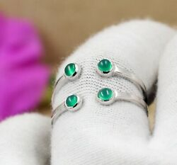 Round Green Onyx Anniversary Gift Ring Solid 925 Sterling Silver Jewelry Kr1720