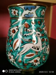 Ikaros Pottery Vase With Deergold Rimms-hand Made In Rhodes-greeceicaro