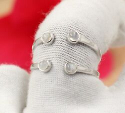 Round Moonstone Engagement Gift Ring Solid 925 Sterling Silver Jewelry Kr1729