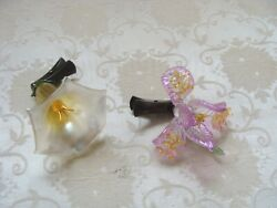 2 Fabulous Christmas Tree Glass Flowers Clip On Collectible Ornaments Easter 3