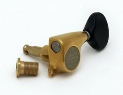New - Gotoh 510 Delta Series 3x3 Tuning Keys, Black Buttons, 211 - Antique Gold