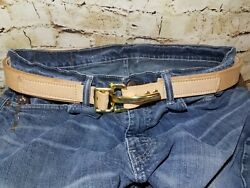 Custom Handmade Leather Belt Unique Fast Release Buckle Made In Usa See Pics