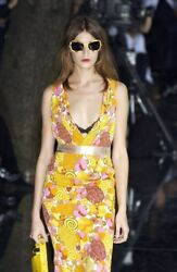 DOLCE & GABBANA SS 2004 Runway Paisley Floral Silk Yellow Dress Sz IT 42 US 6