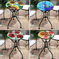 Iron/glass Round Side Coffee Patio Table Mosaic Design Garden Flower Plant Stand
