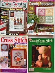 4 Counted Cross Stitch Magazines Patterns Country Primitive🧵 Classic Collection