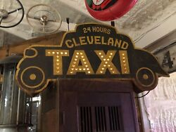 Unique Single Sided Cleveland Taxi Sign Punched Tin Cab One Of A Kind Car Auto