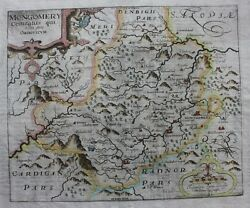 Antique Atlas Map Wales, Montgomery, Welshpool, Saxton And Kip, 1st Edition 1607