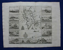 Rare Antique Map Norway Spitzbergen 'greenland' Whaling Purchas, Churchill, 1744