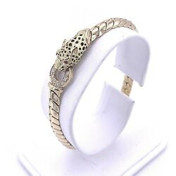 French 18k Yellow Gold Leopard Head Bracelet With Ruby Eyes