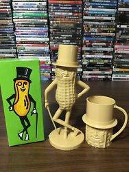 Vintage 1975 Mr Peanut Avon Nutty Soap Dish Coin Bank And Cup Set