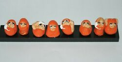 Japanese Small Daruma With Eight Expressions Kokeshi Wooden Dolls