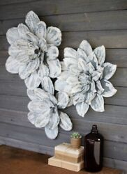 White Washed Wall Flowers Metal Art Sculptures Cottage Chic Largest 23quot; Set 3