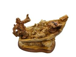 Jesus On The Boat Christ Calms The Storm Carved Olive Wood From Holy Land