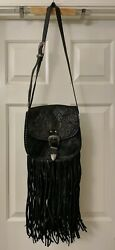 Spell & the Gypsy Collective Designs Tooled Leather Muse Fringe Bag Black (READ)