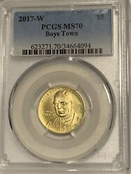 2017-w 5 Gold Boys Town Commemorative Pcgs Ms70 - Super Low Mintage Coin
