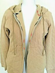 London Women Camel Quilted Jersey Knit Bomber Jacket W/ Hood Size L