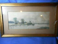 Antique Framed Water Color On Paper Windmill Barn Lake Scene Signed