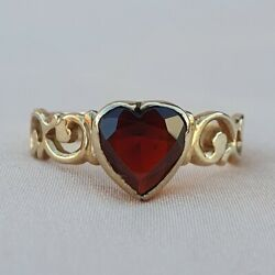 Late Victorian Garnet Heart Gold Ring Antique Vintage Solitare Ring Love