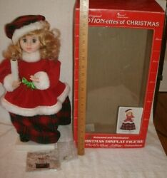 Vintage Telco Motion-ette Animated Christmas Victorian Girl Caroler Candle Box