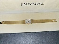 Unique Vintage Ladies Movado Watch In 14k Yellow Gold With Diamond Face And Bezel