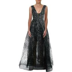 Betsy amp; Adam Womens Glitter Plunging Evening Formal Dress Gown BHFO 4083 $33.99