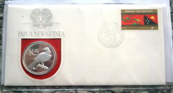 Papua New Guinea 1975 Eagle 5 Kina Stamp Pack Silver Coin,proof